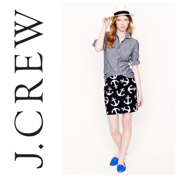 J.Crew Anchor Print Mini Skirt